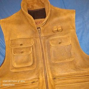 VTG Leather Safari Photography Vest Willis XL